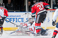 KELOWNA, CANADA - OCTOBER 31: Jayden Sittler #33 of Lethbridge Hurricanes deflects a shot by the Kelowna Rockets on October 31, 2015 at Prospera Place in Kelowna, British Columbia, Canada.  (Photo by Marissa Baecker/Shoot the Breeze)  *** Local Caption *** Jayden Sittler;