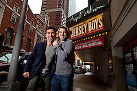 Actors Jarrod Spector, right, and Dominic Scaglione, Jr. of Jersey Boys on Broadway. ..Photo by Robert Caplin.