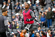 Fulham striker Floyd Ayite (11) warms up before kick off during the EFL Sky Bet Championship match between Fulham and Wolverhampton Wanderers at Craven Cottage, London, England on 18 March 2017. Photo by Andy Walter.