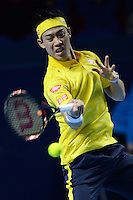 Kei Nishikori (JPN) in action whilst winning the first set 7-6 against Paolo Lorenzi (ITA) in the ATP 500 Swiss Indoors in Basel