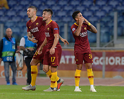 October 2, 2018 - Rome, Italy - Justin Kluivert celebrates after scoring goal 4-0 during the UEFA Champions League match group G between AS Roma and Viktoria Plzen at the Olympic stadium on october 02, 2018 in Rome, Italy. (Credit Image: © Silvia Lore/NurPhoto/ZUMA Press)