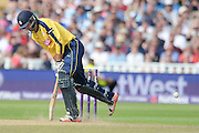James Vince digs out a Yorker during the NatWest T20 Blast Semi Final match between Hampshire County Cricket Club and Lancashire County Cricket Club at Edgbaston, Birmingham, United Kingdom on 29 August 2015. Photo by David Vokes.