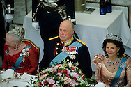 15.04.2015. Copenhagen, Denmark.Queen Margrethe II, King Harald of Norway and Queen Silvia of Sweden during a Gala Dinner at Christiansborg Palace on the eve of The 75th Birthday of Queen Margrethe of Denmark.Photo:© Ricardo Ramirez
