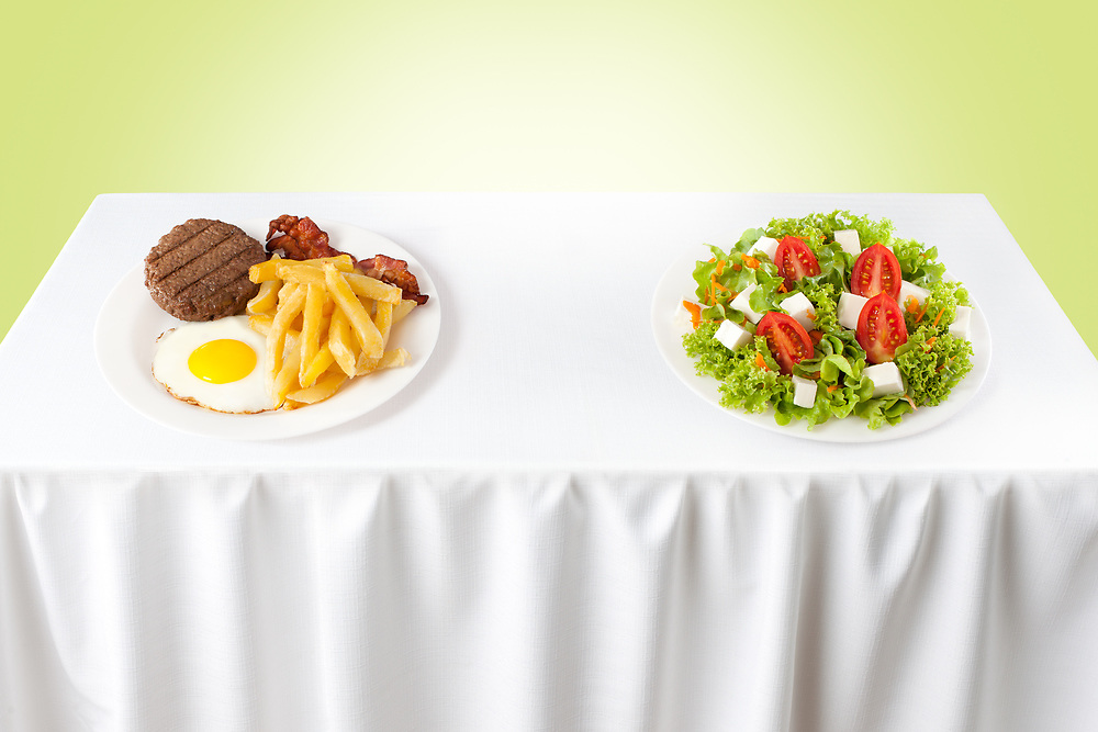 Contrasting healthy versus junk food