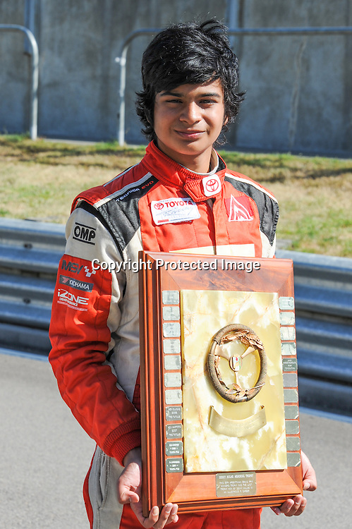 Arjun Maini from India after winning the Denny Hulme Memorial Trophy at the Taupo round of TRS racing on Sunday 8 Feb 2015.