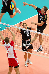 10.09.2011, O2 Arena, Prag, CZE, Europameisterschaft Volleyball Maenner, Vorrunde D, Deutschland (GER) vs Polen (POL), im Bild Piotr Nowakowski (#1 POL) - Patrick Steuerwald (#17 GER / Warschau POL), Stefan Hübner/Huebner (#9 GER / Dueren GER) // during the 2011 CEV European Championship, Germany vs Poland at O2 Arena, Prague, 2011-09-10. EXPA Pictures © 2011, PhotoCredit: EXPA/ nph/  Kurth       ****** out of GER / CRO  / BEL ******