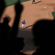 Ruben Tejada, New York Mets, runs the bases to the fans delight after hitting a solo home run during the New York Mets Vs Arizona Diamondbacks MLB regular season baseball game at Citi Field, Queens, New York. USA. 11th July 2015. Photo Tim Clayton