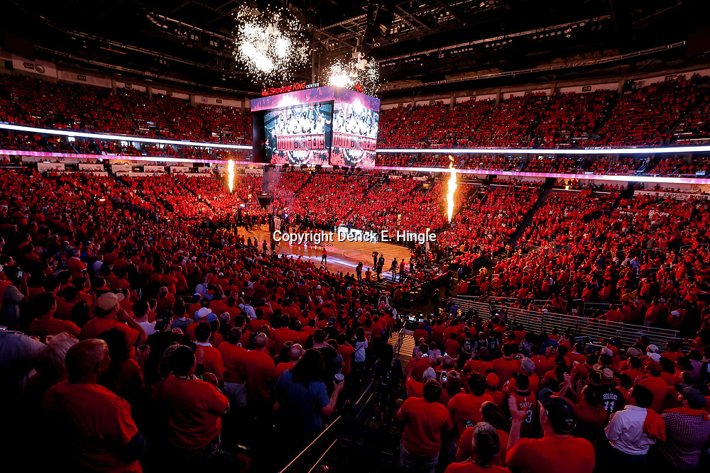 Apr 21, 2018; New Orleans, LA, USA; A general view during introductions before game four of the first round of the 2018 NBA Playoffs between the New Orleans Pelicans and the Portland Trail Blazers at the Smoothie King Center. Mandatory Credit: Derick E. Hingle-USA TODAY Sports