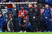 Substitute Jermain Defoe (18) of AFC Bournemouth is handed a piece of paper by AFC Bournemouth manager Eddie Howe during the Premier League match between Bournemouth and Tottenham Hotspur at the Vitality Stadium, Bournemouth, England on 11 March 2018. Picture by Graham Hunt.