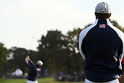 Tiger Woods (Usa) watches Bryson Dechambeau during the friday afternoon foursome session of Ryder Cup 2018, at Golf National in Saint-Quentin-en-Yvelines, France, September 28, 2018 - Photo Philippe Millereau / KMSP / ProSportsImages / DPPI