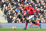 Manchester United Defender Chris Smalling during the Premier League match between Fulham and Manchester United at Craven Cottage, London, England on 9 February 2019.