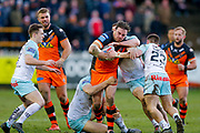 Castleford Tigers prop Grant Millington (10) powers through  during the Betfred Super League match between Castleford Tigers and Widnes Vikings at the Jungle, Castleford, United Kingdom on 11 February 2018. Picture by Simon Davies.
