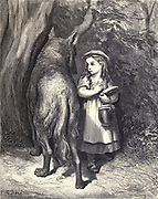 "I'm going to my Granny's to carry this jar And this cake from my mother."" ""Indeed! Is it far?"" Illustration from 'Little Red Riding Hood' by Paul Gustave Dore (1832-1883). From the book Fairy realm. A collection of the favourite old tales. Illustrated by the pencil of Gustave Dore by Tom Hood, (1835-1874); Gustave Doré, (1832-1883) Published in London by Ward, Lock and Tyler in 1866"