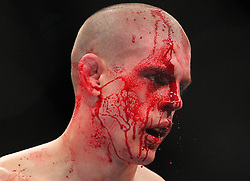 Las Vegas, NV - December 29, 2012: Joe Lauzon bleeds from a cut during his bout against Jim Miller at UFC 155 at MGM Grand Garden Arena in Las Vegas, Nevada.