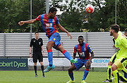 Luke Croll goes close with the headed chance during the U21 Professional Development League match between Crystal Palace U21s and Huddersfield U21s at Imperial Fields, Tooting, United Kingdom on 7 September 2015. Photo by Michael Hulf.