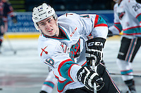KELOWNA, CANADA - MARCH 5: Kole Lind #16 of Kelowna Rockets warms up against the Kamloops Blazers on March 5, 2016 at Prospera Place in Kelowna, British Columbia, Canada.  (Photo by Marissa Baecker/Shoot the Breeze)  *** Local Caption *** Kole Lind;