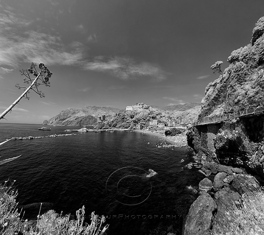 Infrared photo Monterosso Cinque Terra harbor, Italy