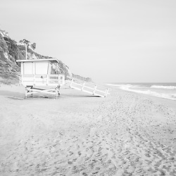 Malibu Zuma Beach lifeguard tower #4 photo in black and white. Malibu is a coastal beach city in Southern California in the United States of America. Copyright ⓒ 2015 Paul Velgos with All Rights Reserved.
