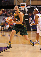 Aug 20, 2010; Phoenix, AZ, USA; Seattle Storm guard Sue Bird (10) handles the ball against the Phoenix Mercury at US Airways Center. The Storm defeated the Mercury 78-73.  Mandatory Credit: Jennifer Stewart-US PRESSWIRE
