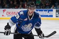 KELOWNA, CANADA -FEBRUARY 8: Logan Fisher #20 of the Victoria Royals faces off against the Kelowna Rockets on February 8, 2014 at Prospera Place in Kelowna, British Columbia, Canada.   (Photo by Marissa Baecker/Getty Images)  *** Local Caption *** Logan Fisher;