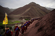 Photos of the Drukpa Lineage Head Lama of Hemis and Ladakh on the Pad Yatra, arriving in Shyang for the final night of camping on 30th June 2009 before concluding the one and a half month long trek to Hemis from Manali. The trek was joined by over 600 people including nuns, monks, foreigners and other buddhist followers..Photo by Suzanne Lee