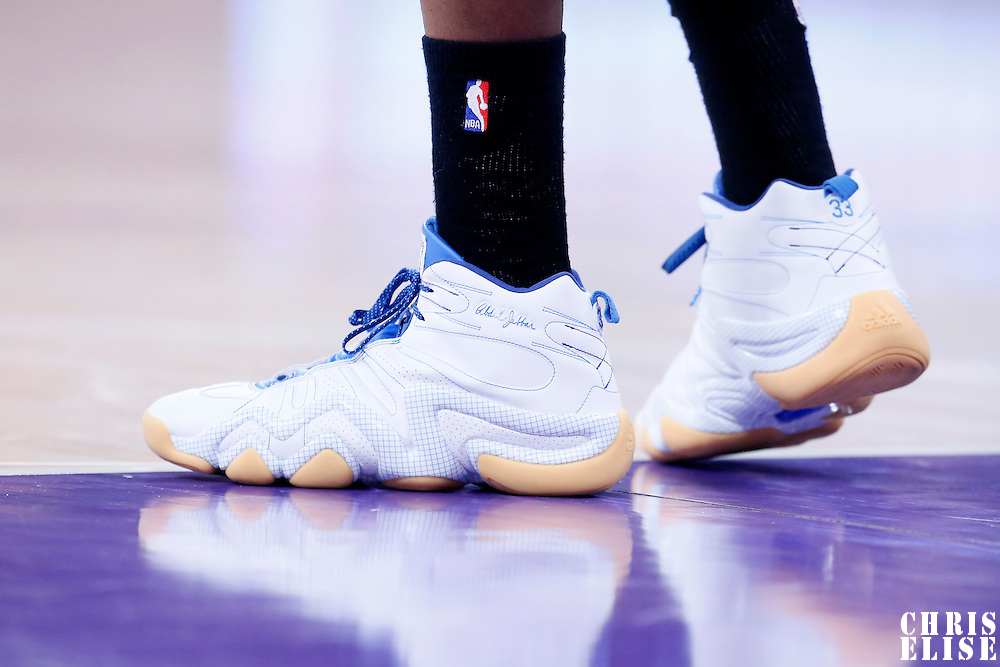10 February 2015: Close view of Denver Nuggets forward Kenneth Faried (35) Adidas Crazy 8 basketball shoes  during the Denver Nuggets 106-96 victory over the Los Angeles Lakers, at the Staples Center, Los Angeles, California, USA.