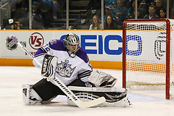 April 4, 2011; San Jose, CA, USA;  Los Angeles Kings goalie Jonathan Quick (32) makes a save against the San Jose Sharks during the first period at HP Pavilion. Mandatory Credit: Jason O. Watson / US PRESSWIRE