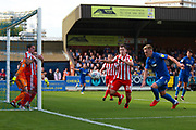 AFC Wimbledon striker Joe Pigott (39) takes a shot during the EFL Sky Bet League 1 match between AFC Wimbledon and Sunderland at the Cherry Red Records Stadium, Kingston, England on 25 August 2018.