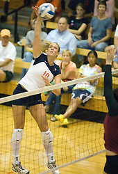 Virginia Cavaliers OH Sarah Kirkwood (10)..The Virginia Cavaliers Volleyball team faced the Florida State Seminoles at Memorial Gymnasium in Charlottesville, VA on September 20, 2007.