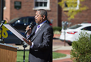 Ohio University President Roderick McDavis reads the second half of the resolution to recommit to the continued advocacy of the ADA during the ADA25 Kickoff Event on October 6, 2015 at Ohio University's Howard Park. Photo by Emily Matthews