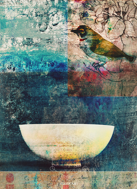 Multi-layered collage with a bird, a bowl, and asian calligraphy.