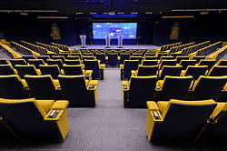 The EU Council press briefing room sits empty before European leaders arrive on the first day of the EU Summit, at the European Council headquarters building, on Thursday, Dec. 13, 2012, in Brussels, Belgium. (Photo © Jock Fistick)