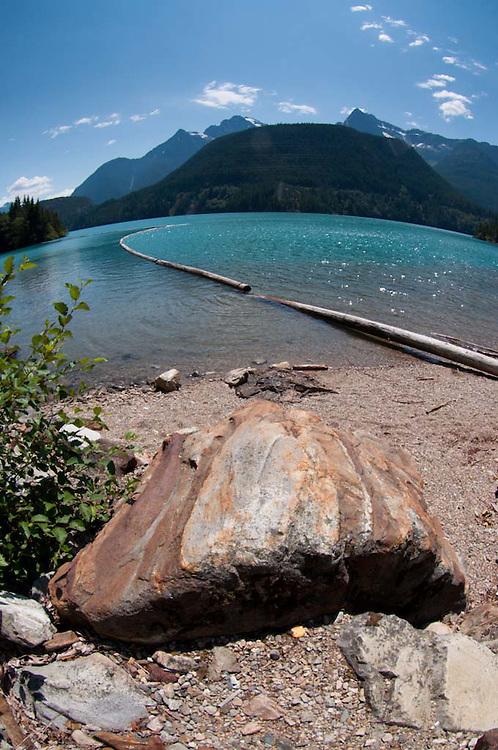 Log Boom on Diablo Lake, North Cascades National Park, Washington, US