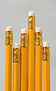 6 yellow pencils of different lengths