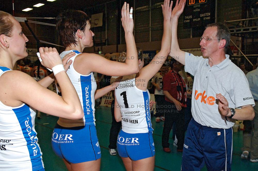 09-04-2005 VOLLEYBAL: LONGA 59-ARKE POLLUX: LICHTENVOORDE<br /> <br /> De ploeg uit Lichtenvoorde won op eigen terrein de allesbeslissende vijfde wedstrijd van de halve finale tegen Arke/Pollux met 3-0 / <br /> <br /> &copy;2005-WWW.FOTOHOOGENDOORN.NL