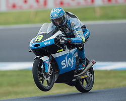 October 22, 2016 - Melbourne, Victoria, Australia - Italian rider Nicolo Bulega (#8) of Sky Racing Team VR46 in action during the 3rd Moto3 Free Practice session at the 2016 Australian MotoGP held at Phillip Island, Australia. (Credit Image: © Theo Karanikos via ZUMA Wire)
