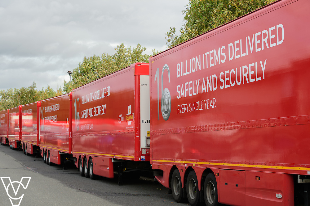 Pictured is are the double decker trailers - 95's<br /> <br /> Royal Mail is rolling out 400 new double decker trailers (called 95's), which feature a rising platform to provide two layers of storage.   They are currently used for transporting Yorks, but at the end of October, Yorkshire Distribution Centre is going to use them to loose load 16,000 packages - double the current capacity of the single trailers.<br /> <br /> Picture: Chris Vaughan Photography<br /> Date: October 17, 2016
