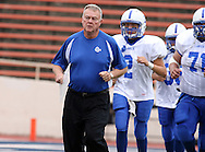 Lanier's Coach Don Gatain during pre-game, Kerrville Tivy vs. Lanier, 1 p.m. Saturday, 17 Nov 07, at Alamo Stadium: Tivy dominated the game scoring 42 points in the first half and knocking Lanier out of the playoffs 52-7.