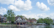 "Maidenhead. Berkshire. United Kingdom. General View of the 2017 Maidenhead Junior Regatta, centred round Maidenhead RC Boathouse with a view of part of the ""Sounding Arch Bridge.  River Thames. <br />