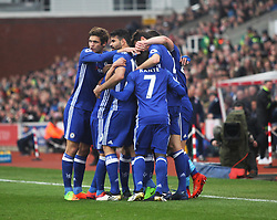 Willian of Chelsea (Hidden) celebrates scoring his sides first goal- Mandatory by-line: Jack Phillips/JMP - 18/03/2017 - FOOTBALL - Bet365 Stadium - Stoke-on-Trent, England - Stoke City v Chelsea - Premier League