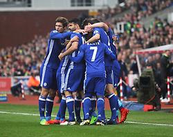 Willian of Chelsea (Hidden) celebrates scoring his sides first goal- Mandatory by-line: Jack Phillips/JMP - 18/03/2017 - FOOTBALL - Bet365 Stadium - Stoke-on-Trent, England - Stoke City v Chelsea - Premier League
