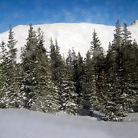 USA, Colorado, Keystone. Blowing snow in the mountains of Keystone, through window.