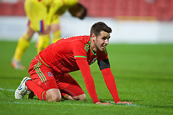 WREXHAM, WALES - Tuesday, November 17, 2015: Wales' Thomas O'Sullivan looks dejected after missing a chance against Romania during the UEFA Under-21 Championship Qualifying Group 5 match at the Racecourse Ground. (Pic by David Rawcliffe/Propaganda)