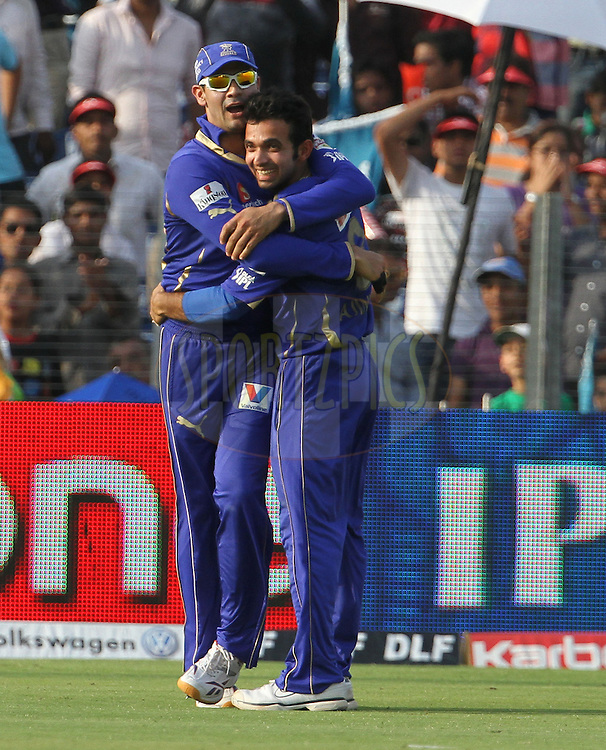Rajasthan Royals players celebrates after a wicket during match 52 of the Indian Premier League ( IPL) 2012  between The Pune Warriors India and the Rajasthan Royals held at the Subrata Roy Sahara Stadium, Pune on the 8th May 2012..Photo by Vipin Pawar/IPL/SPORTZPICS