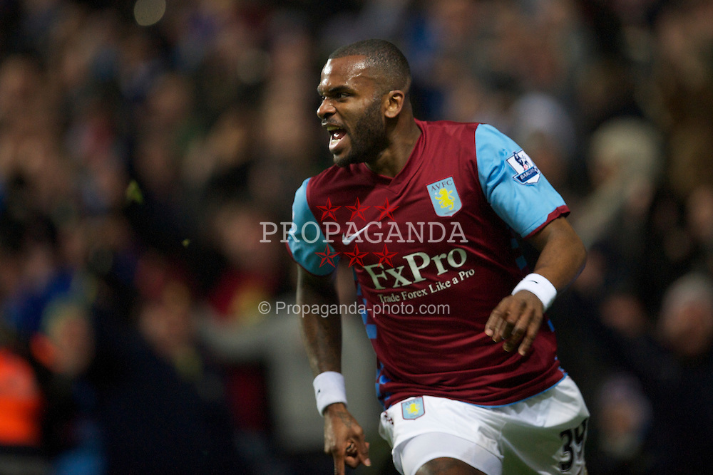 BIRMINGHAM, ENGLAND - Saturday, January 22, 2011: Aston Villa's Darren Bent celebrates scoring the opening goal against Manchester City, his first for the club on his debut, during the Premiership match at Villa Park. (Photo by David Rawcliffe/Propaganda)