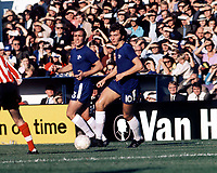 Alan Hudson (Chelsea) & Ron Harris (behind) 23/10/71, Chelsea v Southampton. Credit: Colorsport.