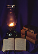 Still life, historic German language Bible and Martyr's Mirror, Lancaster, PA,