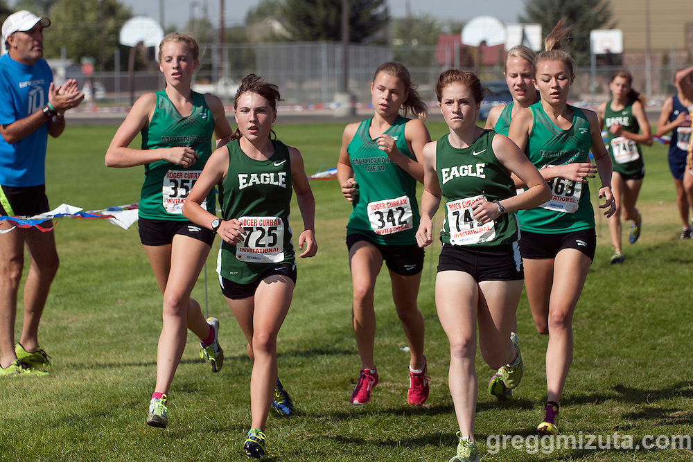 The lead pack (L to R: Sam McKinnon, Megan Dupree, Erin Hagen, Brooke Rawlins, Allison Ellingson, Becca Williamson) during the first loop of the Roger Curran Invitational girls varsity race at West Park in Nampa, Idaho on September 8, 2012.McKinnon won the 4A-5A race with a time of 18:59.67 followed by Allison Ellingson (19:45.60), Becca Williamson (20:07.34), and Brooke Rawlins (20:11.24).