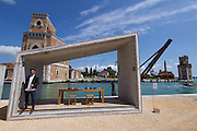 "Venice, Italy - 15th Architecture Biennale 2016, ""Reporting from the Front"".<br /> Arsenale.<br /> Samuel Gonçalves, Portugal with his Summary Architecture."