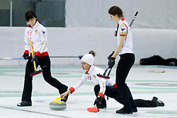 Players of National team Poland during curling match between National teams of Ireland and Poland in 6th Round of European Curling Championship on April 29, 2016 in Ledena dvorana Zalog, Ljubljana, Slovenia. Photo By Urban Urbanc / Sportida